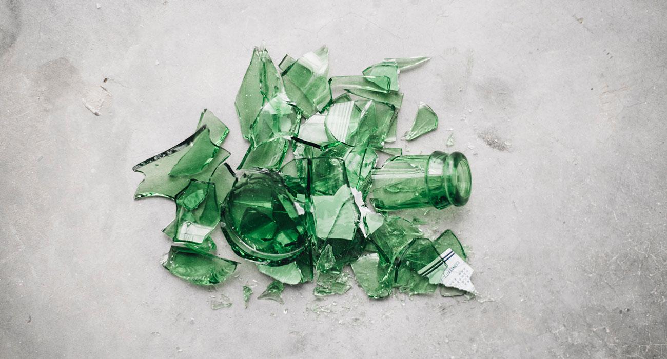 Broken glass, green
