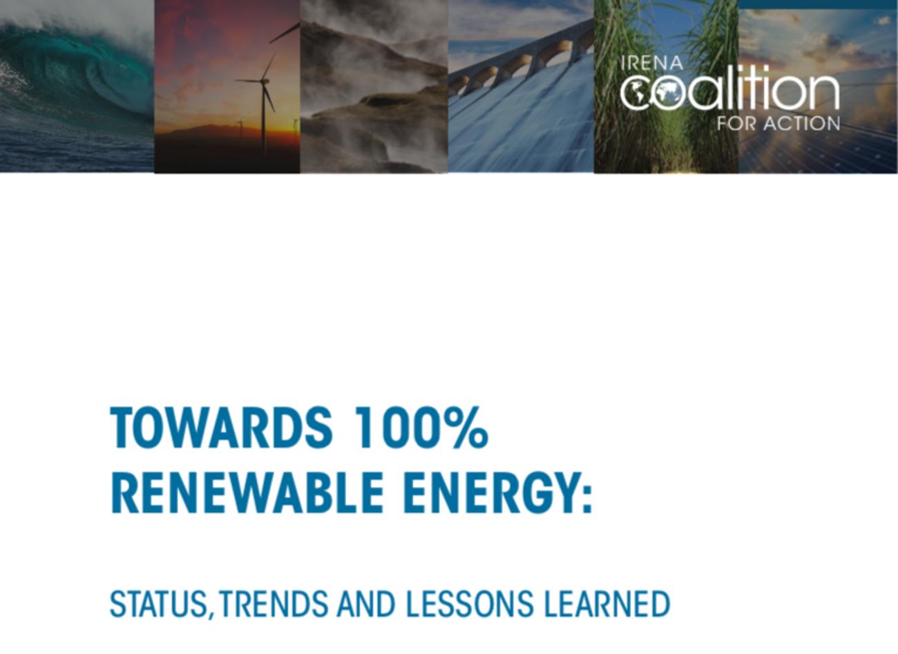 Fotos von Energieanlagen und Titel IRENA Bericht